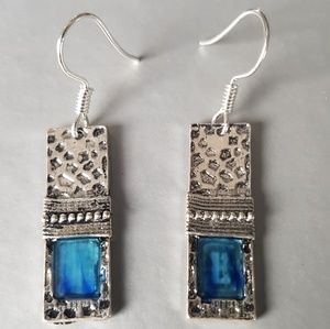 Jewelry - Fashion Drop Earrings with Blue Natural Gemstones